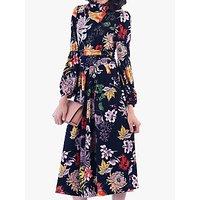 Jolie Moi Funnel Neck Floral Print Midi Dress, Black