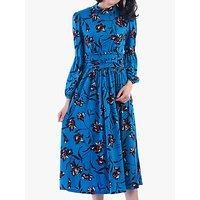 Jolie Moi Funnel Neck Floral Print Midi Dress, Teal