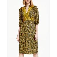 Boden Ariadne Leaf Print Midi Dress, Navy