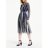 Boden Genevieve Spot Print Tie Waist Midi Dress, Navy