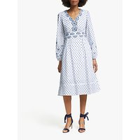 Boden Flossie Embroidered Midi Dress, White/French Navy