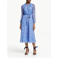 Boden Kyra Tie Waist Silk Midi Dress, Hazy Blue