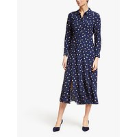 Boden Charlotte Mixed Spot Midi Dress, Navy/Truffle