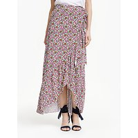 Boden Florence Drape Maxi Skirt, Ivory Rouge Bloom