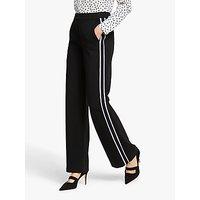 Boden Wells Side Stripe Wide Leg Trousers, Black/Ivory