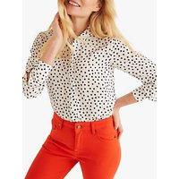 Boden Polka Dot Silk Shirt, Ivory
