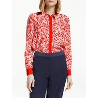 Boden Leaf Print Silk Shirt, Chalky Pink/Red
