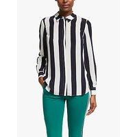 Boden Stripe Print Silk Shirt, Navy/Ivory