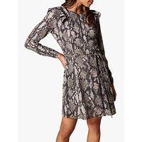 Karen Millen Snakeskin Print Ruffle Dress, Multi