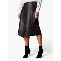 Karen Millen Faux Leather Wrap Skirt, Black