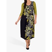 CHESCA | Chesca Floral Draped Dress, Black/Lime | Goxip