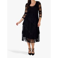 CHESCA | Chesca Frill Pleat Midi Dress, Black | Goxip