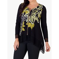 CHESCA | Chesca Floral Hanky Hem Top, Black/Lime | Goxip