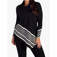 CHESCA | Chesca Stripe Border Cowl Neck Top, Black/Grey | Goxip
