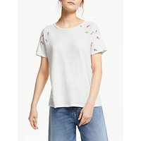 ARMEDANGELS Aamira Organic Cotton And Linen Embroidered T-Shirt, Off White