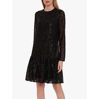 Gina Bacconi Jettie Sequin Chiffon Ruffle Hem Dress, Black