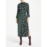 Finery Mia Floral Side Slit Midi Dress, Green/Multi