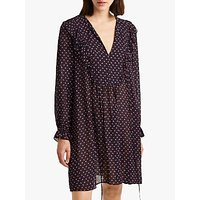 French Connection Fleur Belted Long Sleeve Dress, Utility Blue Multi