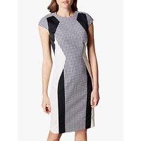 Karen Millen Gingham Bodycon Dress, Black/White