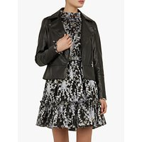Ted Baker Mandyy Leather Biker Jacket, Black