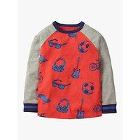 Mini Boden Boys' Sporty Print Raglan T-Shirt, Red