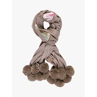 CHESCA | Chesca Embroidered Floral Pom Trim Wrap, Mink | Goxip