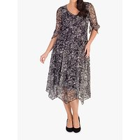 Chesca Stretch Lace Jersey Dress, Ivory/Black