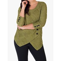 Chesca Faux Wrap Wavy Line Ripple Tunic Top, Lime