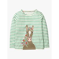 Mini Boden Girls' Stripe Horse Print T-Shirt, Green