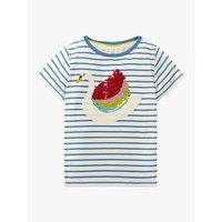Mini Boden Girls' Sequin Swan T-Shirt, Ivory/Blue