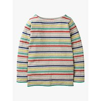 Mini Boden Girls' Breton T-Shirt, Grey/Rainbow