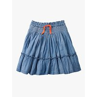 Mini Boden Girls' Denim Ruffle Skirt, Blue