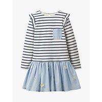 Mini Boden Girls' Flower Stripe Dress, Ivory/Blue