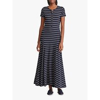 Lauren Ralph Lauren Wolford Stripe Long Jersey Dress, Lauren Navy/Silk White