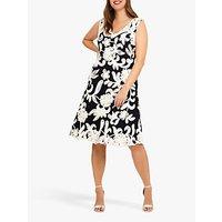 Studio 8 Ottoline Floral Tapework Dress, Navy/Ivory