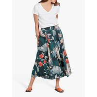 hush Elise Button Floral Midi Skirt, Hibiscus Print