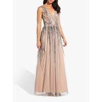 Adrianna Papell Beaded Long Dress, Mercury/Nude