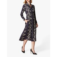 Karen Millen Snake Print Midi Shirt Dress, Navy/Multi