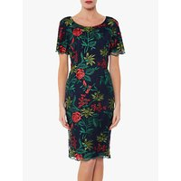 Gina Bacconi Vienna Floral Embroidered Scallop Detail Tailored Dress, Spring Navy
