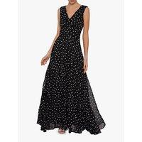 Gina Bacconi Calandra Spot Maxi Dress, Black/White