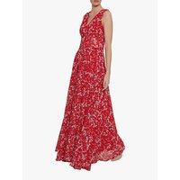 Gina Bacconi Santesa Floral Chiffon Maxi Dress, Red/White