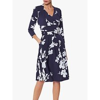 shop for Gina Bacconi Madyn Floral Pleat Dress, Navy/Ivory at Shopo