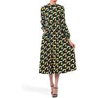 Jolie Moi Geometric Print Turtleneck Midi Dress