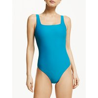 John Lewis and Partners Turkish Tile Texture Square Neck Tank Swimsuit, Teal