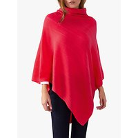 Pure Collection Textured Poncho, Rich Coral