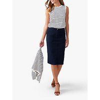 Pure Collection Chino Pencil Skirts, Navy