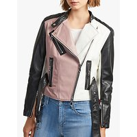 French Connection Adela Leather Biker Jacket, Multi
