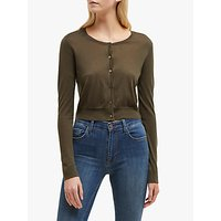 French Connection Spring Cropped Cardigan, Cactus Green