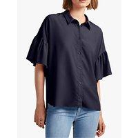 French Connection Crepe Ruffle Sleeve Shirt, Utility Blue