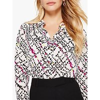 Damsel in a Dress Marin Animal Print Blouse, White/Multi
